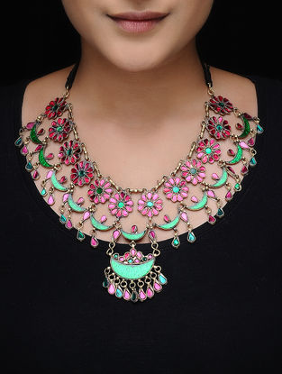 Green-Pink Glass Triba Necklace