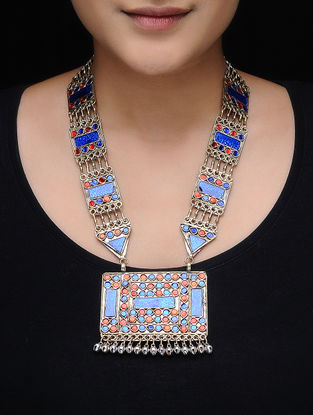Red-Blue Glass Tribal Necklace
