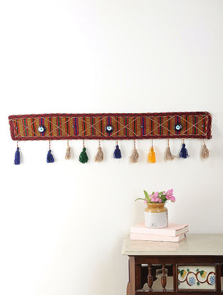 Vintage Multicolored Cotton and Wool Wall Hanging with Tassels