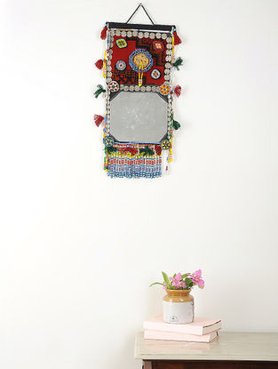 Vintage Multicolored Wool Wall Hanging with Mirror and Beads