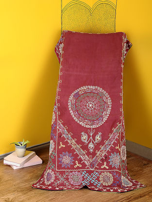 Maroon-Multicolored Cotton Textile with Vintage Suzani Embroidery
