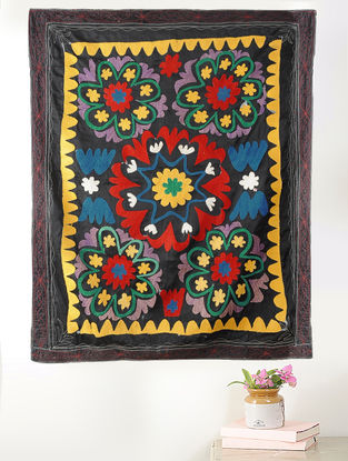 Black-Multicolored Cotton Textile with Vintage Suzani Embroidery