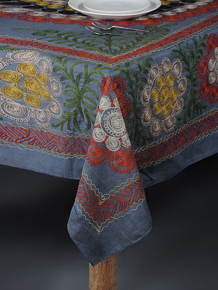 Blue-Multicolored Cotton Textile with Vintage Suzani Embroidery