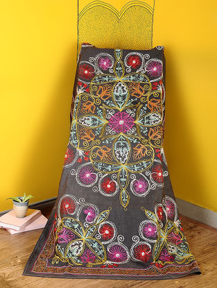 Grey-Multicolored Cotton Textile with Vintage Suzani Embroidery