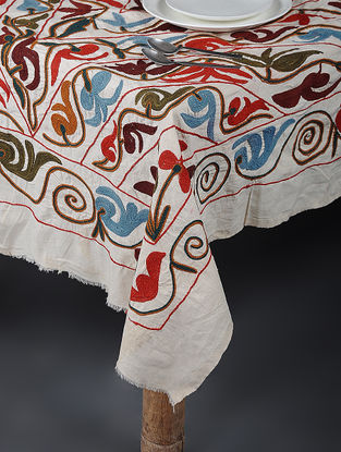 Ivory-Multicolored Cotton Textile with Vintage Suzani Embroidery