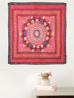 Pink-Multicolored Cotton Textile with Vintage Suzani Embroidery