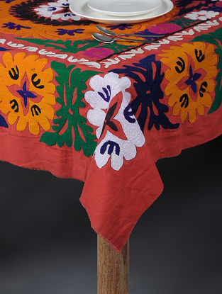 Red-Multicolored Cotton Textile with Vintage Suzani Embroidery