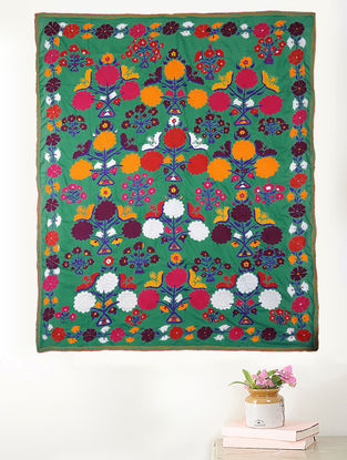 Green-Multicolored Cotton Textile with Vintage Suzani Embroidery