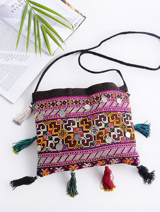 Green-Multicolored Cotton Sling Bag with Vintage Afghani Embroidery and Coins