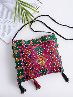 Multicolored Cotton Sling Bag with Vintage Afghani Embroidery and Mirrors