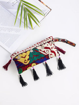 Multicolored Cotton Pouch with Vintage Afghani Embroidery