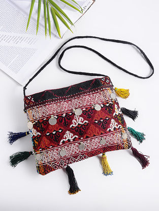 Red-Multicolored Cotton Sling Bag with Vintage Afghani Embroidery and Coins