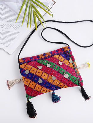 Multicolored Cotton Sling Bag with Vintage Afghani Embroidery and Coins