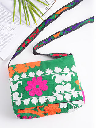 Green-Multicolored Cotton Sling Bag with Vintage Afghani Embroidery