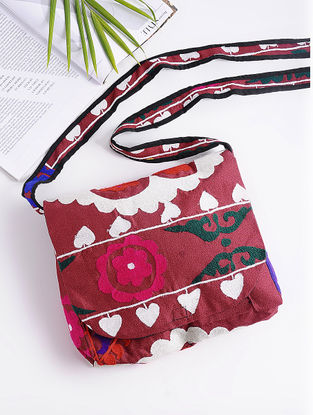 Red-Multicolored Cotton Sling Bag with Vintage Afghani Embroidery