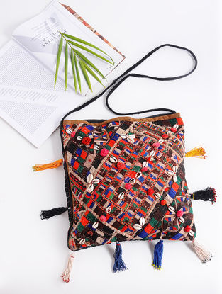 Multicolored Cotton Sling Bag with Vintage Afghani Embroidery with Shells