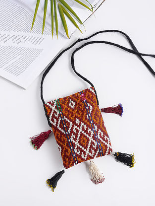 Multicolored Cotton Sling Bag with Vintage Afghani Embroidery with Tassels