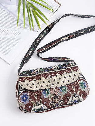 Multicolored Cotton Sling Bag with Vintage Afghani Embroidery