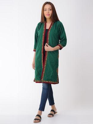 Vintage Green Thread-embroidered Wool Turkmani Coat