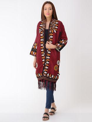 Vintage Maroon Thread-embroidered Silk Turkmani Coat
