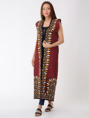 Vintage Maroon Thread-embroidered Silk and Denim Turkmani Coat
