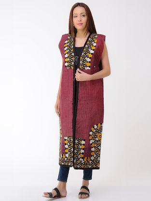 Vintage Maroon Thread-embroidered Silk and Denim and Cotton Turkmani Coat