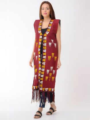 Vintage Maroon Thread-embroidered Silk, Denim and Cotton Turkmani Coat