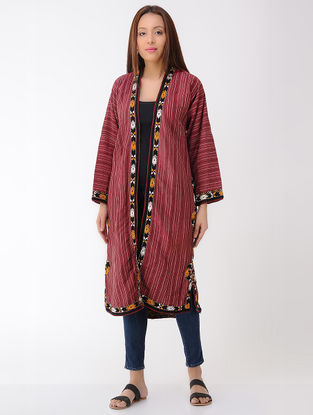 Vintage Maroon Thread-embroidered Cotton and Silk Turkmani Coat