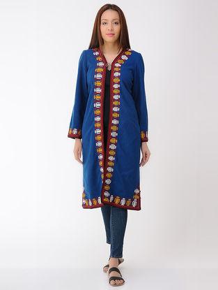 Vintage Blue Thread-embroidered Wool Turkmani Coat