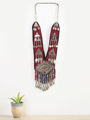 Vintage Maroon-Multicolored Cotton and Velvet Afghani Neckpiece with Coins and Metal