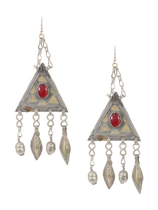 Red Dual Tone Tribal Earrings