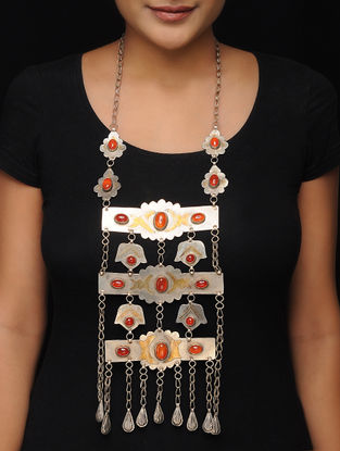 Red Brass Beaded Tribal Necklace