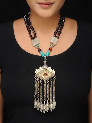 Brown-Turquoise Brass Beaded Tribal Necklace