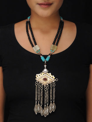 Black-Turquoise Brass Beaded Tribal Necklace