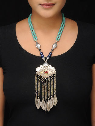 Turquoise-Blue Brass Beaded Tribal Necklace