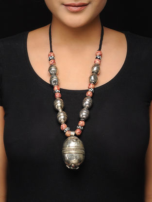 Brown Brass and Wood Beaded Tribal Necklace