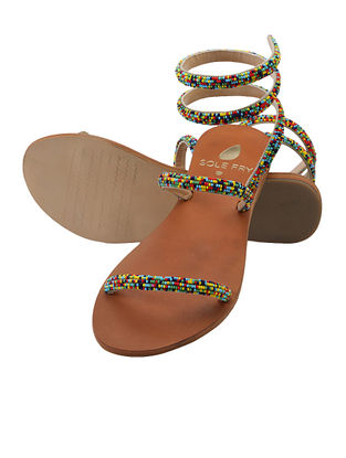 Tan-Multicolored Beaded Leather Flats
