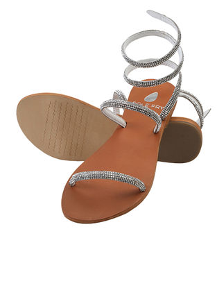 Tan-Silver Beaded Leather Flats