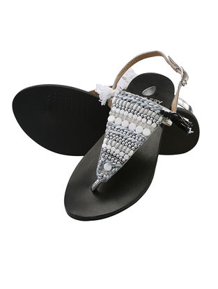 White-Silver Beaded Leather Flats with Tassels