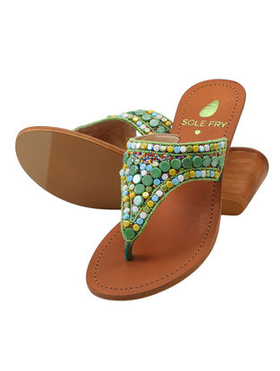 Green-Multicolored Leather Sandals with Embellishments