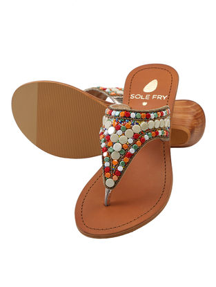 Multicolored Leather Sandals with Embellishments