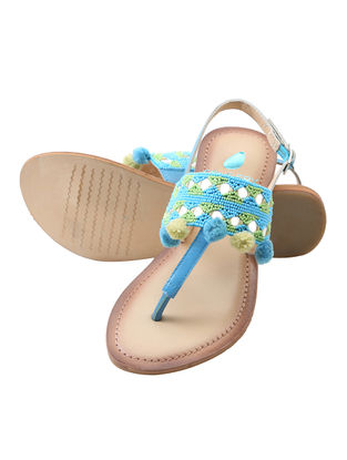 Turquoise-Tan Leather Flats with Embellishments