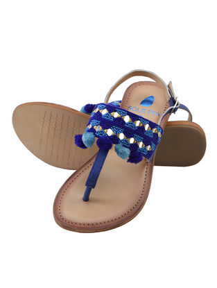 Blue-Tan Leather Flats with Embellishments