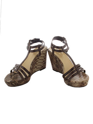 Brown Printed Leather Sandals