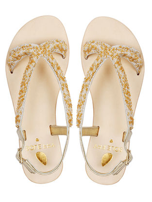 Ivory Leather Flats with Embellishments