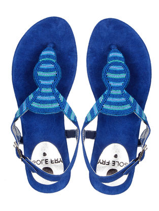 Blue Suede Flats with Embellishments
