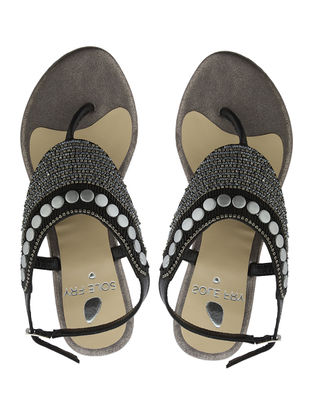 Black-Grey Leather Flats with Embellishments