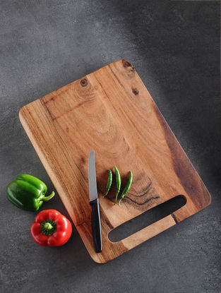 Brown Handcrafted Acacia Wood Chopping Board (L:15in, W:11in, H:0.5in)