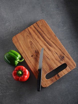 Brown Handcrafted Acacia Wood Chopping Board (L:12in, W:8in, H:0.5in)