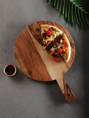 Brown Handcrafted Acacia Wood Pizza Board (L:17.5in, W:12in, H:0.5in)